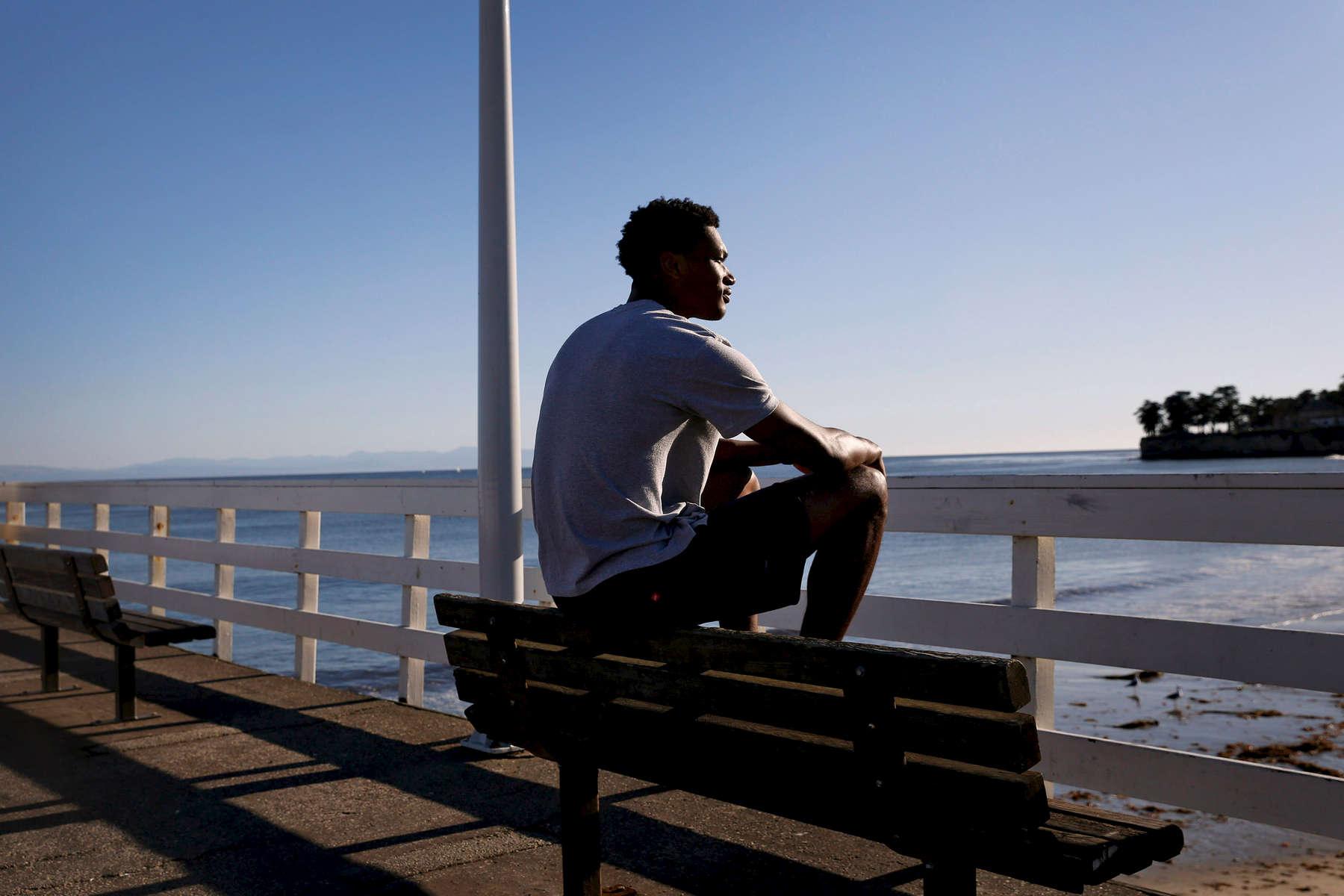 Santa Cruz, California - November 17, 2017: Golden State Warrior and Santa Cruz Warrior G League player Damian Jones, 22, poses for a portrait at the Santa Cruz Wharf.(Preston Gannaway/ for ESPN)