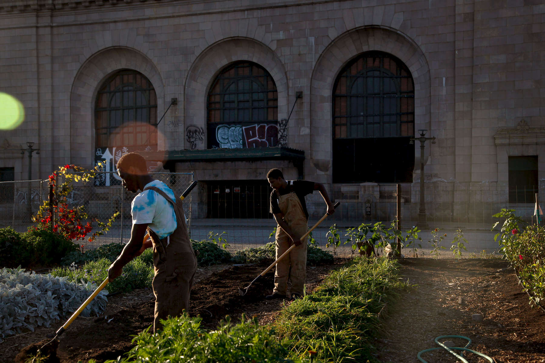 "Jakari Hill, 17, (left) and Malik Hopkins, 14, prep dirt for flower beds at WOW Farm in Oakland, Calif., on Tuesday, October 4, 2016. Malik said he enjoys the physicality of farming the most. ""It's kinda like the gym but different."" The flower farm sits in front of the historic 16th Street Station. The station was built in 1912 and operated until the early 1990s. The station was integral to the Second Great Migration, when African-Americans left the South in search of jobs. Many resettled in Oakland. (Photo by Preston Gannaway © 2016)"