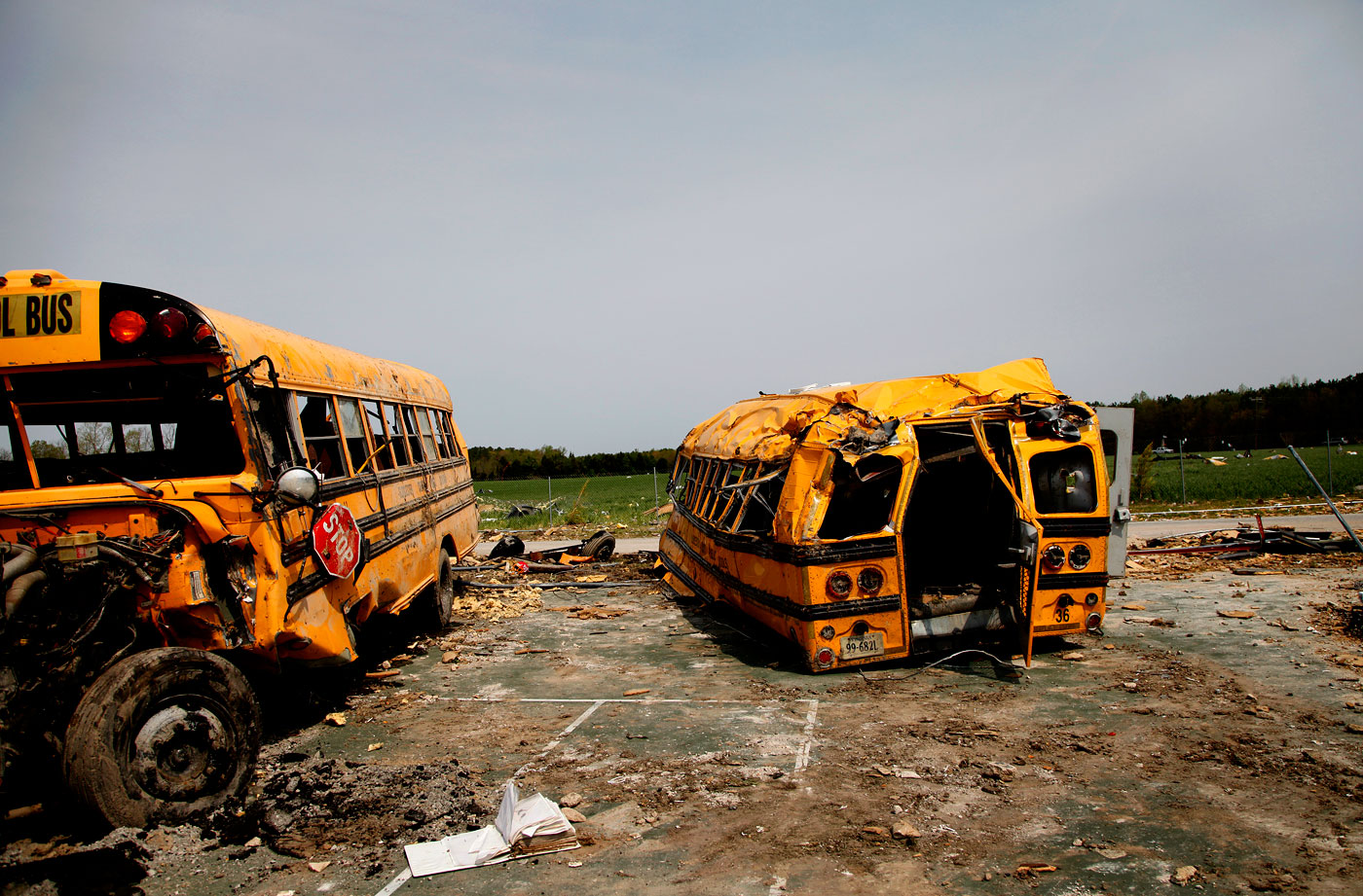 Tornado-damaged school buses at Page Middle School in Gloucester, Va., on Monday, April 18, 2011.