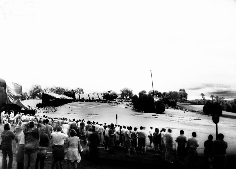 US Open at Bethpage, Black Course, final day.  Infra red film and Holga plastic camera.