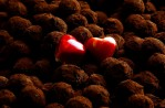 Rosewater hearts recline on a bed of chocolate-dusted truffles at Knipschild's Chocolates, in Norwalk, Connecticut.