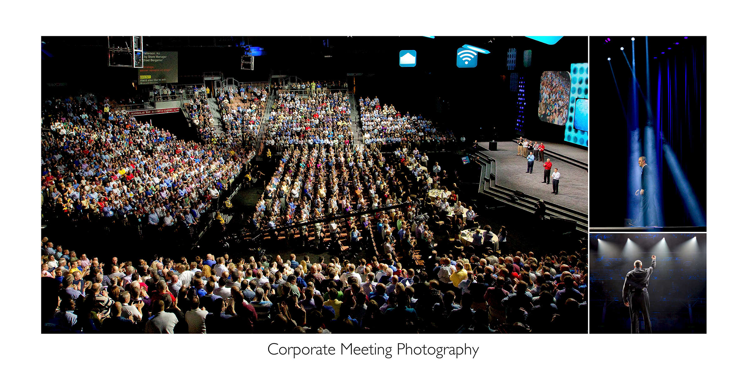 Collection of images from a large corporate event. The largest image shows thousands of people filling a stadium to hear corporate executives speak at an annual corporate sales meeting. Photography of corporate meetings reinforce messages and rekindle emotions long after attendees return home. Strong images also help promote and drive excitement for upcoming events. 