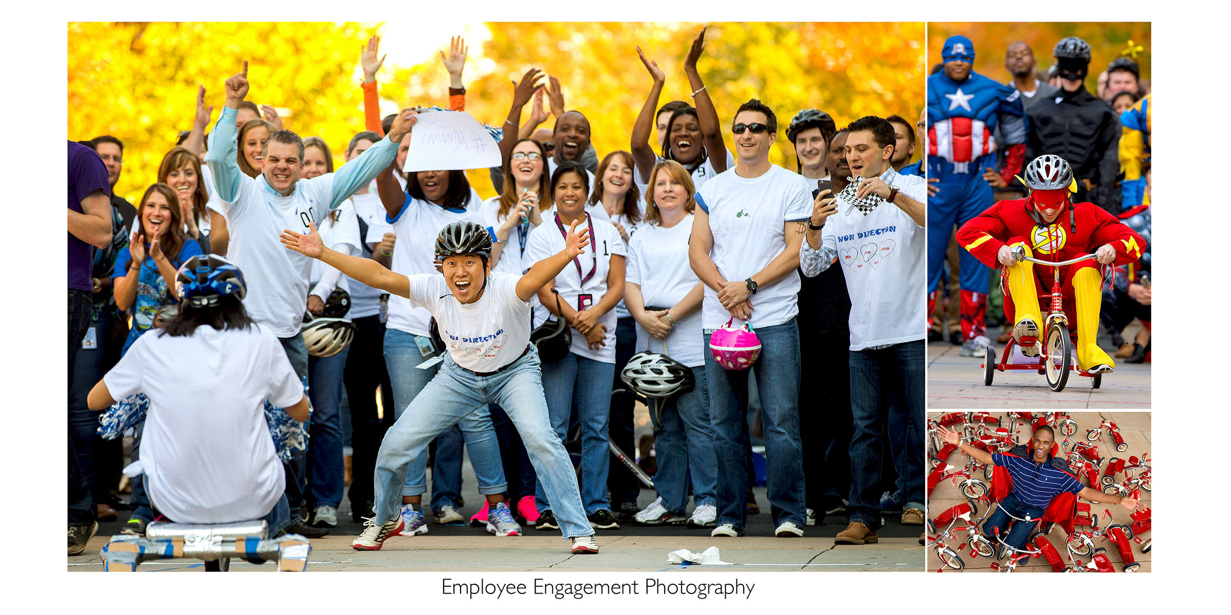 Grouping of multiple photos designed together to illustrate employees having fun while celebrating the results of the company's United Way fundraising campaign. The employees decorated tricycles and then raced them on relay teams. The tricycles were donated to a local children's charity.