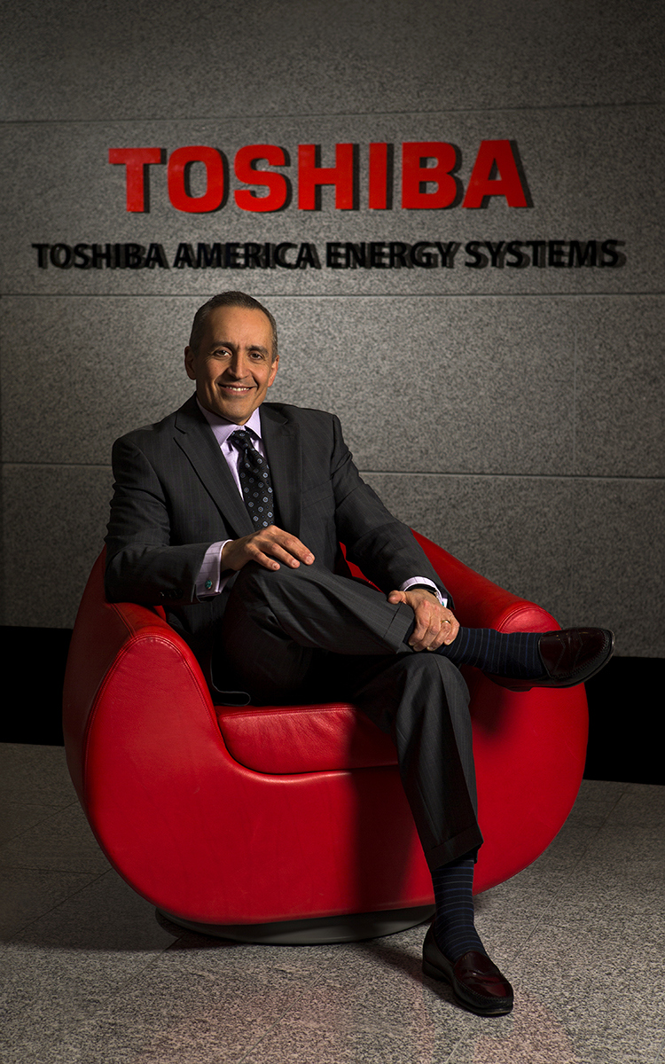 On-location Executive Portrait of Ali Azad, President and CEO of Toshiba America Energy Systems Corporation, at the Charlotte, North Carolina offices.Charlotte Photographer -PatrickSchneiderPhoto.com