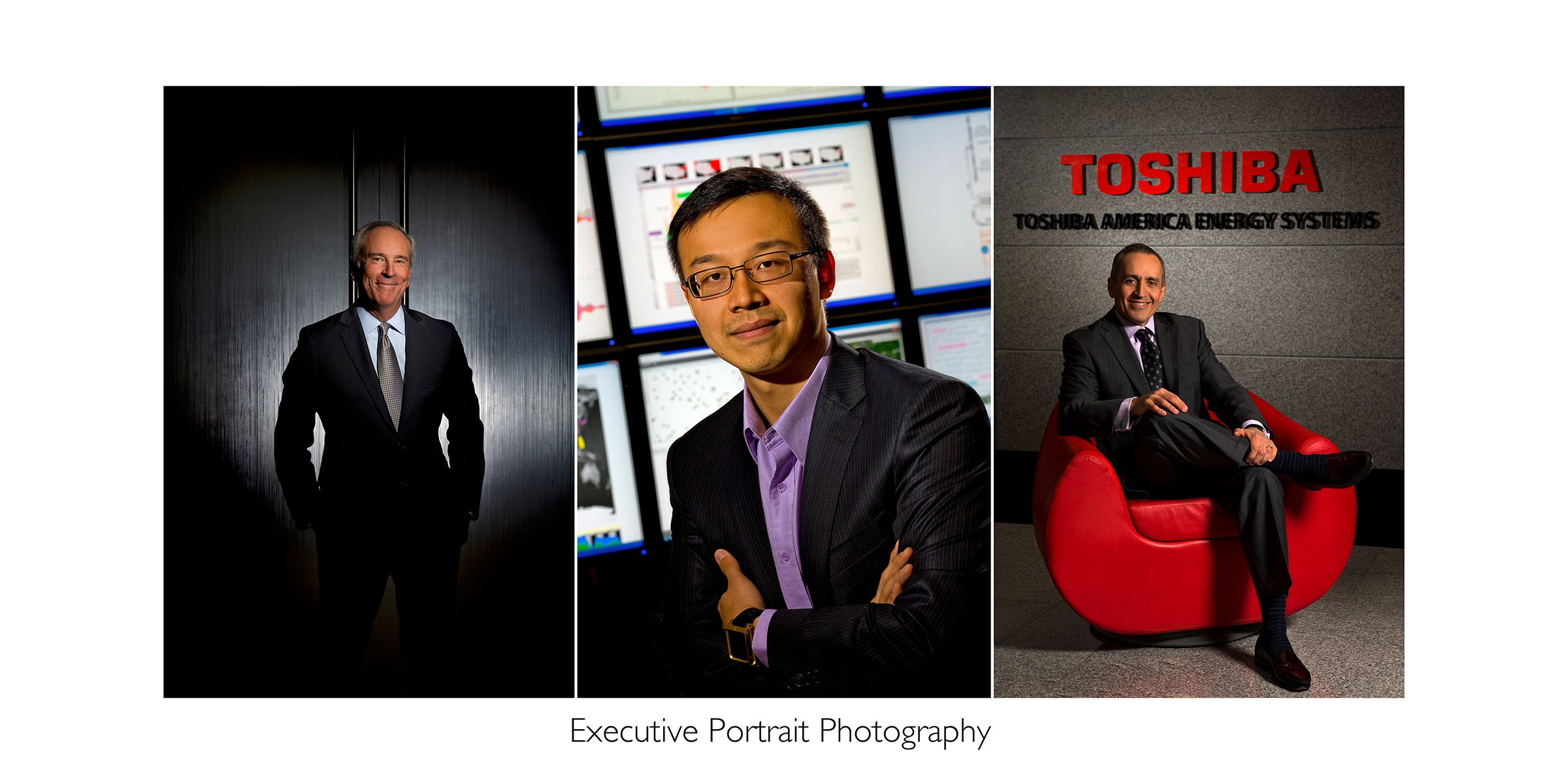 Collection of three photos that show the range of executive portraits made by Patrick Schneider Photography