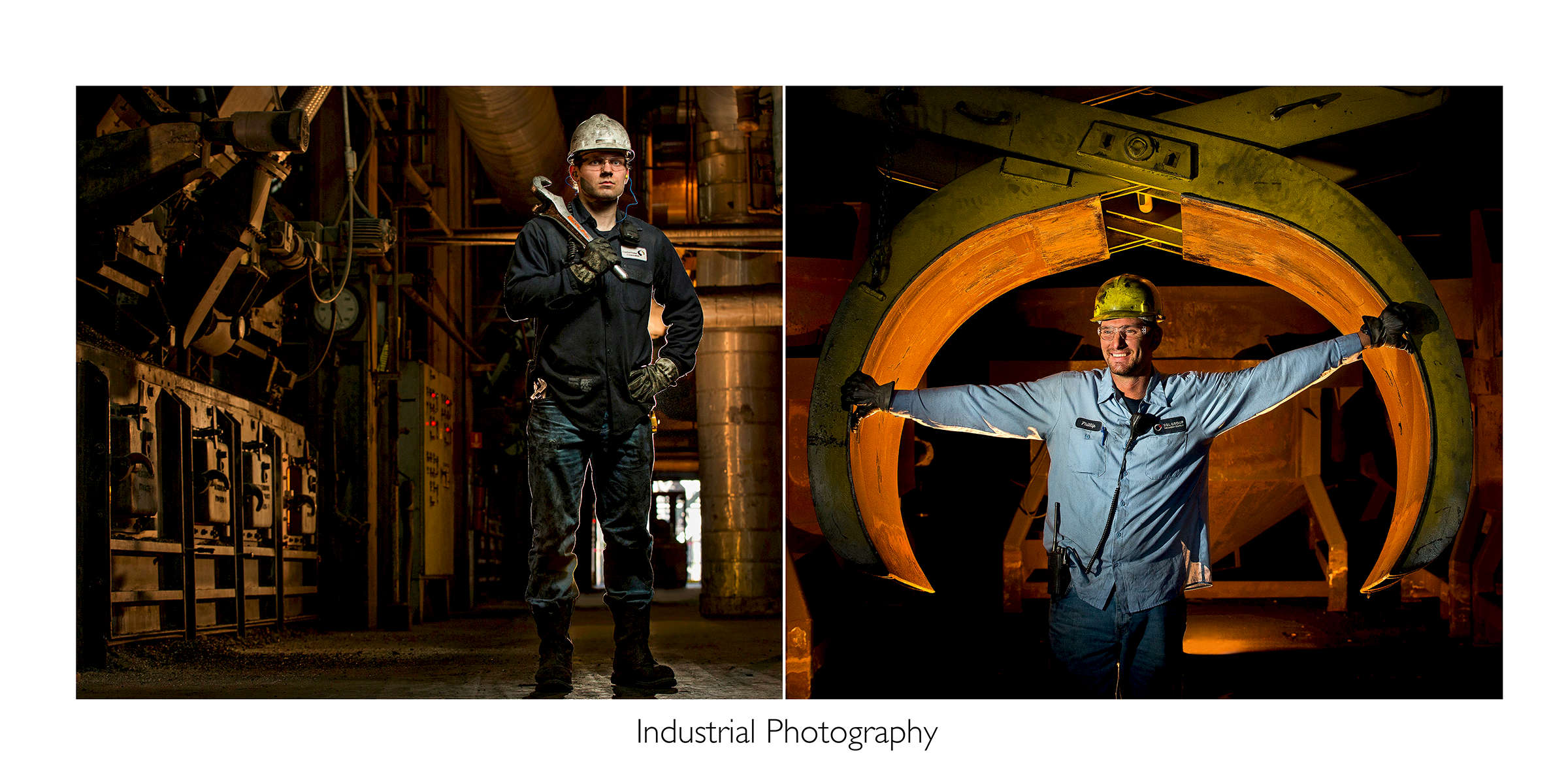Larger image is created using two portraits of employees at work. In the left image, dynamic lighting behind and around a power plant employee helps the subject stand out from his interesting background.