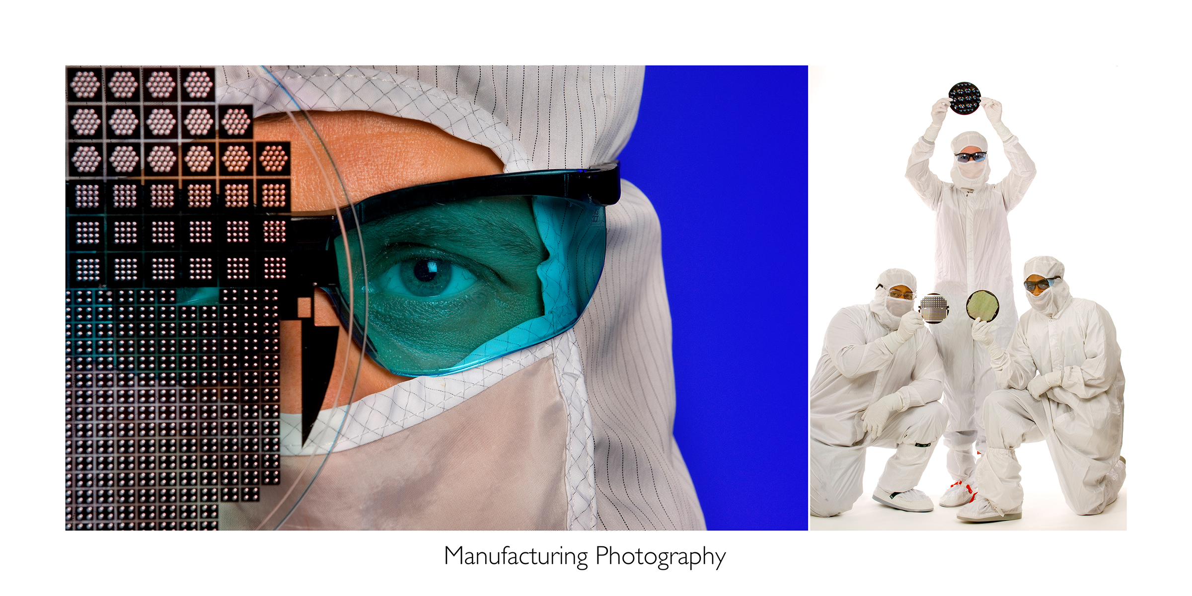 Two photos from a clean room photo shoot placed side by side for illustrative purposes. Left photo is a close up detail shot of an eye looking through a digital wafer. Right photo is of three employees (each covered head to toe with white clothes) holding the wafers they work with.