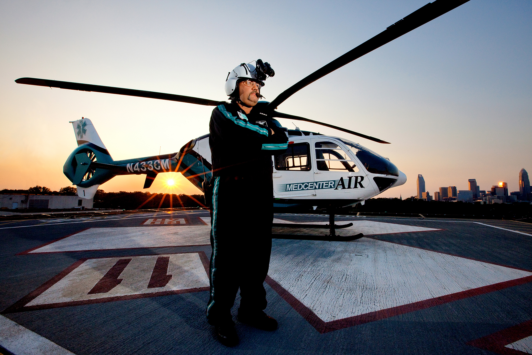 Photography of the MedCenter Air team at Carolinas Medical Center, in Charlotte, North Carolina.
