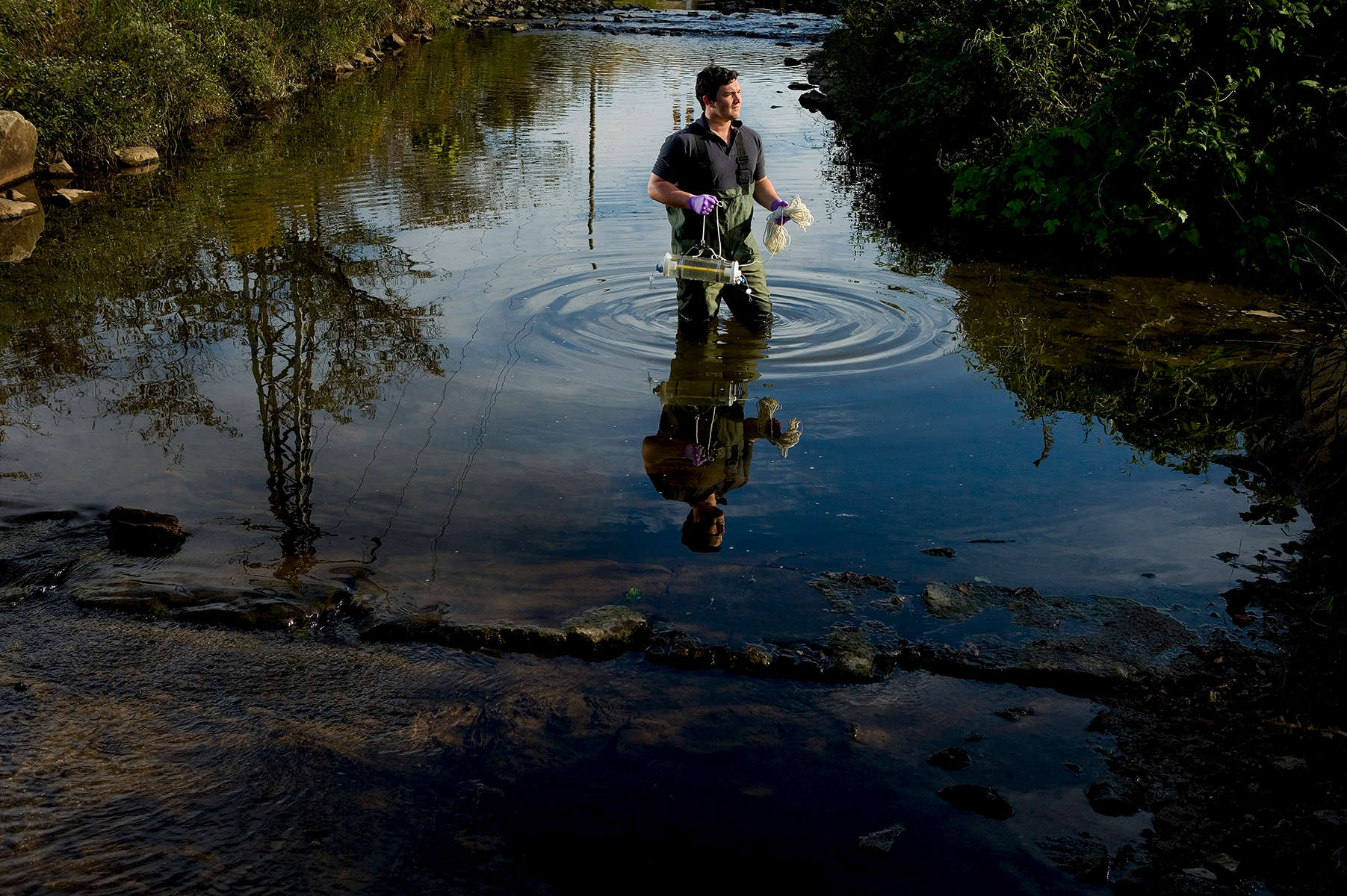 Catawba Riverkeeper Sam Perkins at work testing the waters in the Charlotte, North Carolina area.Charlotte Photographer - PatrickSchneiderPhoto.com