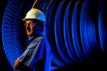 Environmental portrait of a manufacturing / industrial employee at Siemens in Charlotte, NC.