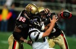 In the XFL opener, the NY/NJ Hitmen played an intense game against the Las Vegas Outlaws