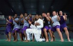 LSU Tigers Robert Royal with teammates after a Karate workout