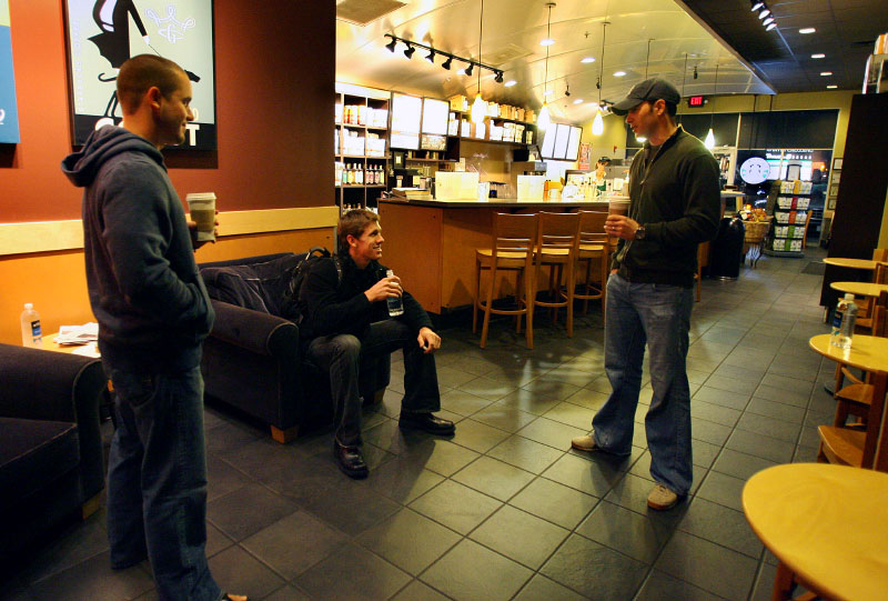 NASCAR drivers Casey Mears and Jimmie Johnson meet Carl at a local Starbucks in the morning to ride to Martinsville together for testing