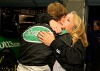 Carl hugs his mother, Nancy Sterling, upon greeting her at Lowes Motorspeedway prior to his practice run
