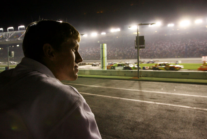 After qualifying, Carl watches the infield race exhibition in the infield of Lowes Motorspeedway