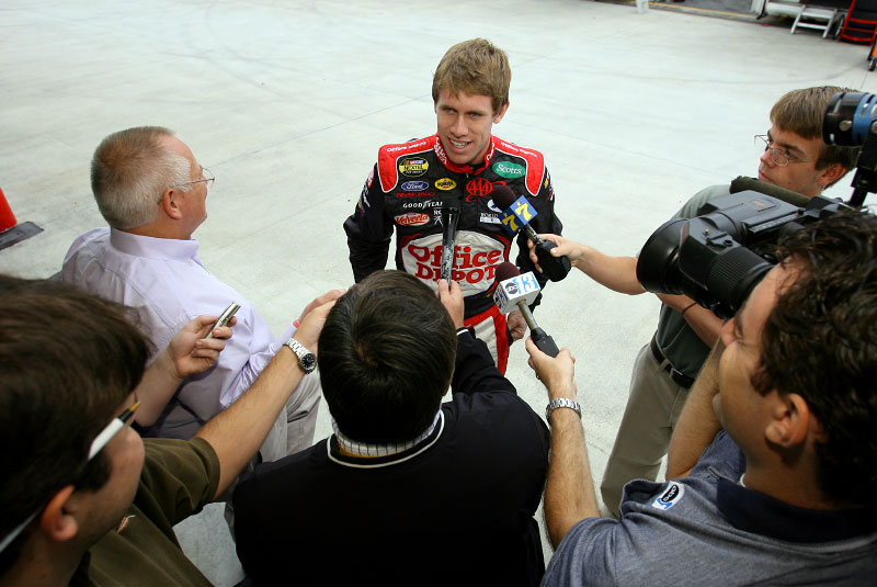 Carl meets with members of the media follwing his testing at Martinsville Raceway