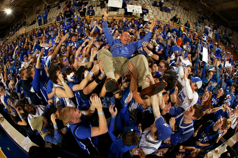 ESPN Announcer Dick Vitale has some fun with the Duke students