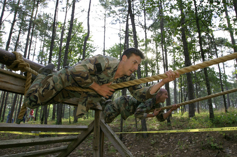 USA Army Rangers Adam Nash and Colin Boley during the Darby Queen obstacle course.