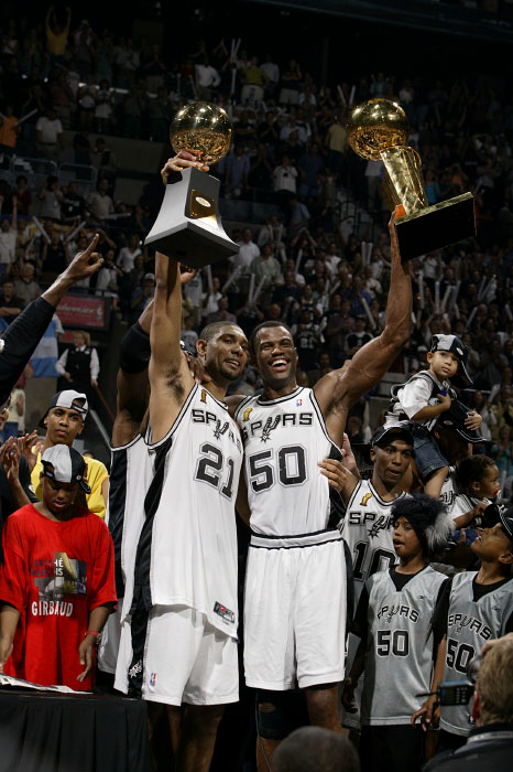 San Antonio Spurs centers Tim Duncan and David Robinson celebrate their NBA Championship.