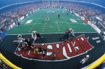 Orlando Predators Browning Nagle drops to pass against the Tampa Bay Storm