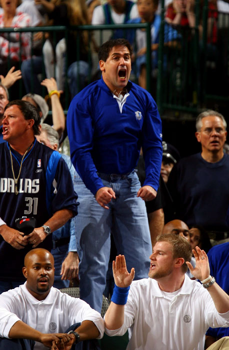 Dallas Mavericks owner Mark Cuban in a usual place