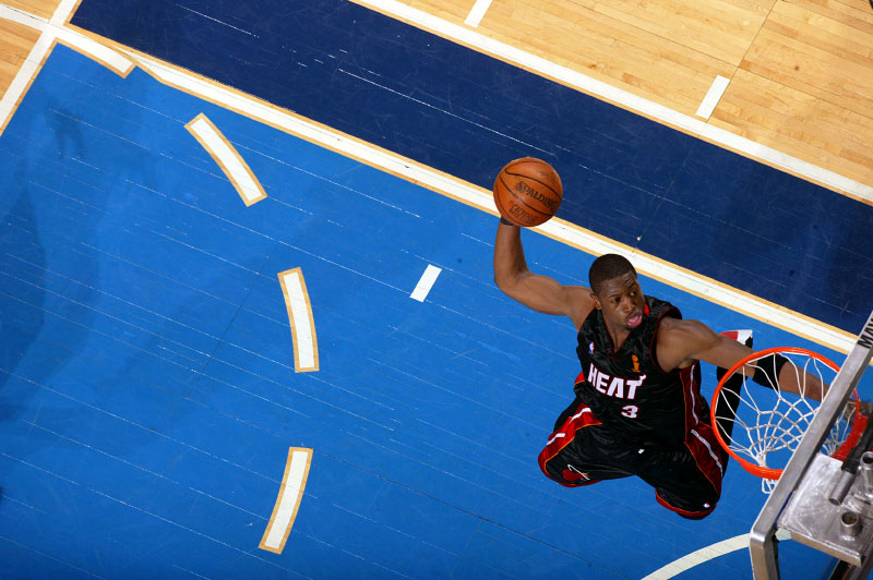 An above view of Miami Heat Dwyane Wade making dunk in game two of the 2006 NBA Finals against the Dallas Mavericks