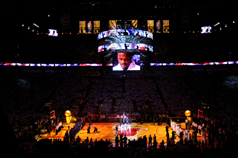 View of American Airlines Arena during introductions before Game 4 of the 2006 NBA Finals between the Dallas Mavericks and Miami Heat