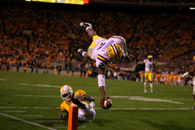 Louisiana State Tigers quarterback JaMarcus Russell diving and attempting a touchdown against Tennessee at Neyland Stadium