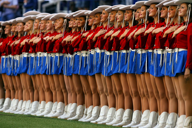 The world famous Kilgore Rangerettes drill team lines up prior to the start of the game at Texas Stadium.