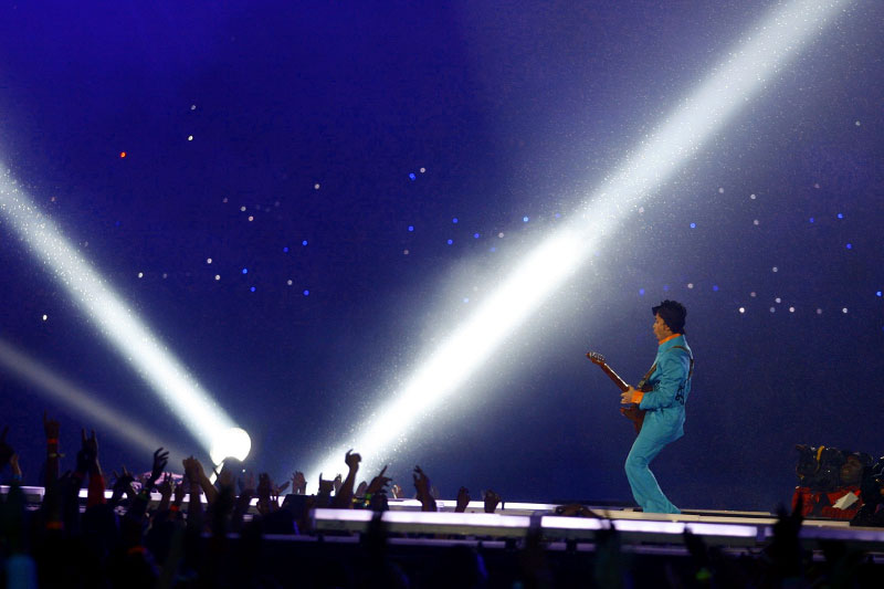 Rock Star Prince performs at halftime
