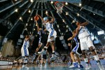 North Carolina LaToya Pringle making block against Duke Lindsey Harding at Carmichael Coliseum
