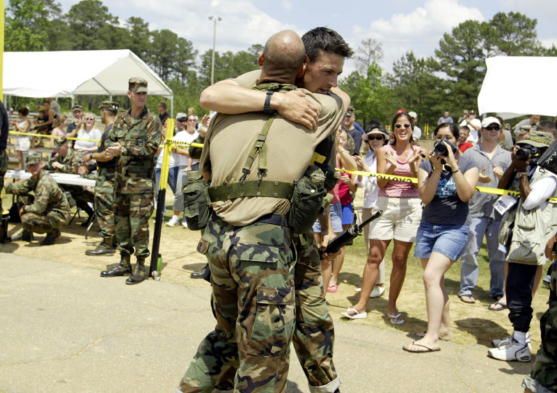 USA Army Rangers Staff Sgt.Adam Nash and Satff Sgt. Colin Boley embrace after winning the competition.