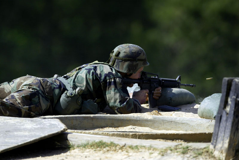 A Ranger fires at a long range target during the second phase of the shooting competition.
