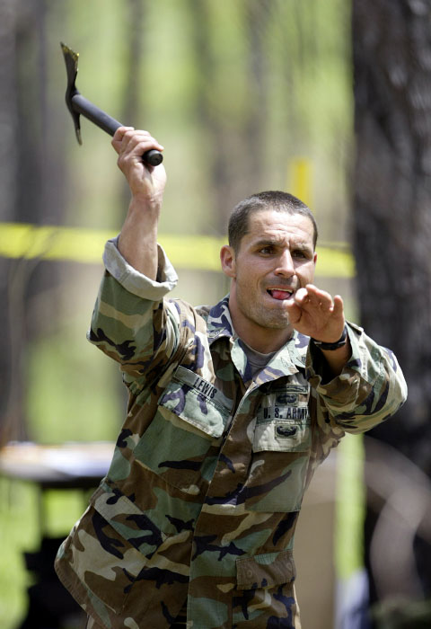 USA Ranger Staff Sgt. Jeffrey Lewis does a hammer throw during the Ranger Stakes competition.