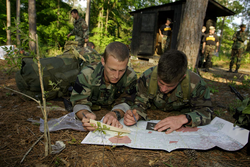 USA Army Rangers Matthew Wilson and John Shaeffer perpare for the overnight land navigation phase.