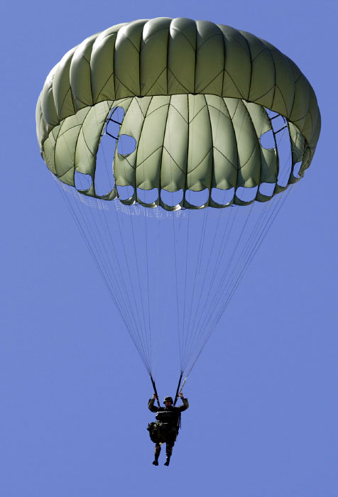 A Ranger parachutes aiming to touch down on a target.