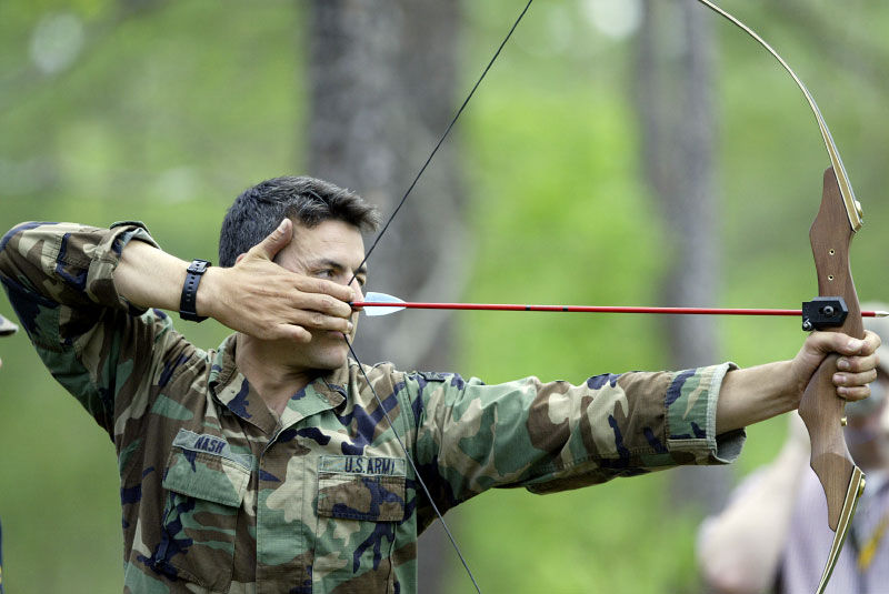 USA Ranger Adam Nash takes aim at his target during the Ranger Stakes competition.