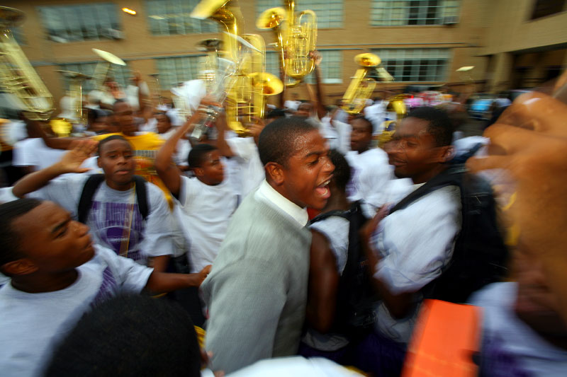 Band members, players and students broke into tears and cheers during the inpromptu prep rally.