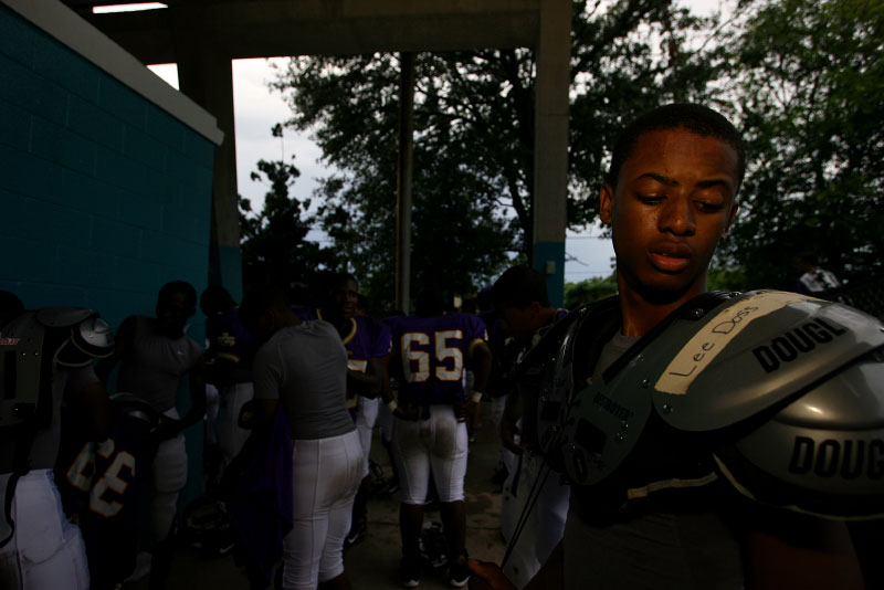 The Purple Knights begin to get suited up for their game against Archbishop Shaw.
