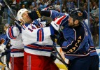 New York Rangers forward Brendan Shanahan takes one to the face during a scuffle with Atlanta Thrashers      during the 2007 Eastern Conference Quarterfinals