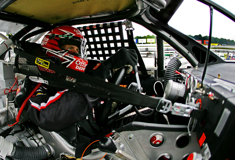An inside the car view as Carl drives the Office Depot Ford during a morning of testing at Martinsville Raceway.