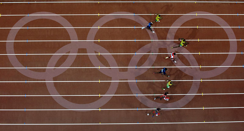 An aerial view of Usain Bolt of Jamaica as he shatters the world record during the men's 100m final at National Stadium at the Beijing Summer Olympic Games.