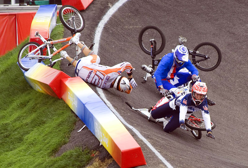 USA cyclist Kyle Bennett crashes and is run over during the BXM cycling at Laoshan Bicycle Moto Cross Venue during the Beijing Summer Olympic Games.