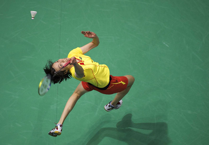 An overhead view of Xie Xingfang of China as she competes in the women's quarterfinals during the Beijing Summer Olympic Games.