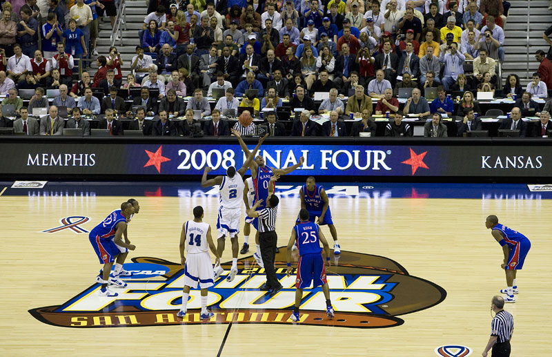 Opening tip of the 2008 NCAA Mens Final Four Championship Game between Memphis and Kansas at the Alamodome