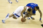 Kansas Jayhawks forward Brandon Rush fights for a loose ball with Memphis Tigers guard Chris Douglas-Roberts during the Championship Game of the 2008 NCAA Mens Final Four