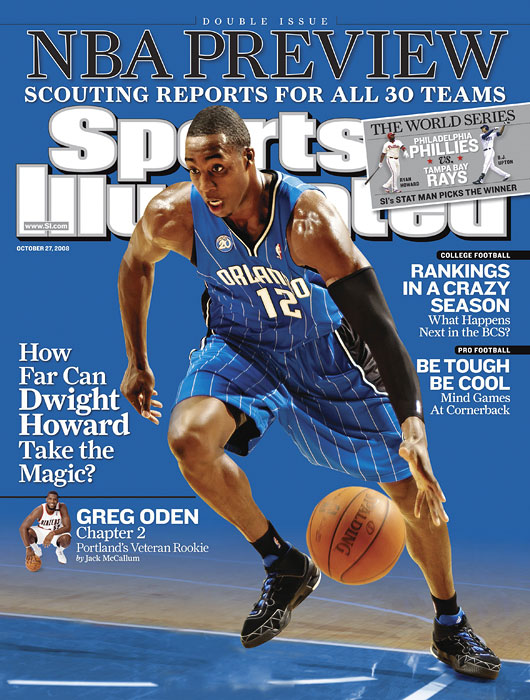 Dwight Howard of the Orlando Magic on the cover of the 2008-09 NBA Preview
