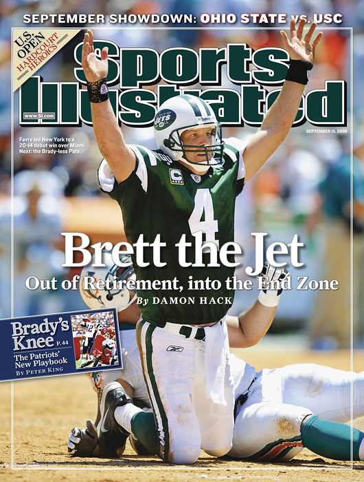 Brett Favre celebrates his debut with the New York Jets