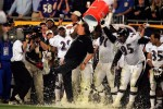 Baltimore Ravens coach Brian Billick is doused by his players after winning Super Bowl XXXV against the New York Giants