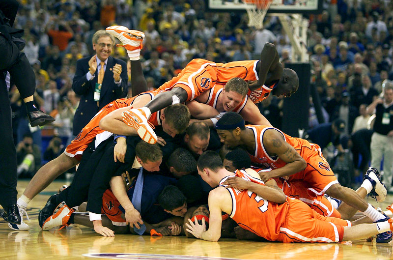 Syracuse celebrates their victory over Kansas winning the National Championship